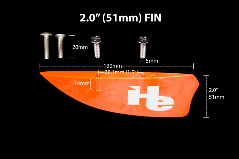 2.0 inch (51mm) kiteboarding fin specifications